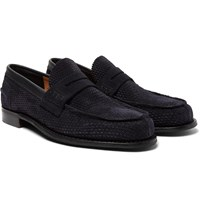 Cheaney Dover D Perforated Suede Penny Loafers Blue