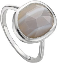 Monica Vinader Siren 18Ct Rose Gold Vermeil And Grey Agate Medium Stacking Ring