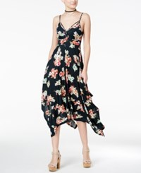American Rag Summer Nights Printed Handkerchief Hem Dress Only At Macy's Floral Black Print