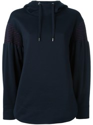 Cedric Charlier Striped Embroidery Hoodie Blue