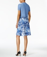 Ny Collection Petite Printed Fit And Flare Dress With Shrug Blue Whiff