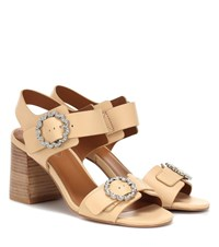 See By Chloe Embellished Leather Sandals Beige