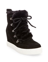 Steve Madden Lift Round Toe Faux Fur Ankle Boots Black