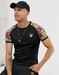 Sik Silk Siksilk X Dani Alves Muscle Fit T Shirt In Black With Printed Raglan Sleeve