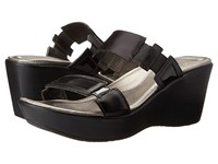Naot Footwear Treasure Black Madras Leather Black Patent Leather Wedge Shoes