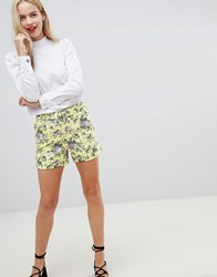 Oasis Ditsy Tailored Shorts With D Ring Belt In Floral Print Multi