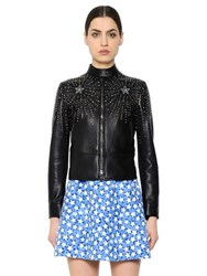 Valentino Eagle Studded Nappa Leather Moto Jacket