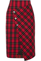 Maje Janty Asymmetric Tartan Twill Wrap Skirt Red