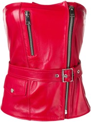 Manokhi Leather Bodice Top Red
