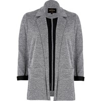 River Island Light Grey Contrast Cuff Jersey Jacket