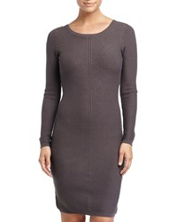 Marc New York By Andrew Marc Long Sleeve Ribbed Sweater Dress Gray