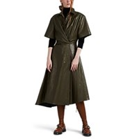 Cedric Charlier Faux Leather Asymmetric Shirtdress Olive