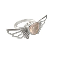 Anna Byers Rose Quartz Wing Ring Silver