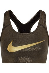 Nike Pro Classic Metallic Stretch Jersey Sports Bra Bronze