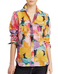Lauren Ralph Lauren Petite Court Printed Cotton And Silk Relaxed Fit Shirt Multi