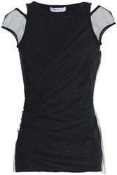 Bailey 44 Mesh Paneled Jersey Top Black