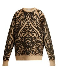 Raey Displaced Sleeve Tiger Knitted Sweater Brown Multi