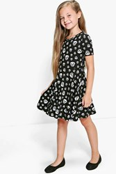 Boohoo Skull Print Skater Dress Black