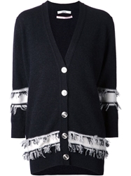 Barrie Fringe Trimmed Cardigan Black