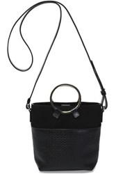 Halston Suede And Woven Leather Bucket Bag Black