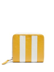 Balenciaga Bazar Zip Around Leather Wallet Yellow Stripe