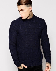 Asos Cable Jumper With Chunky Neck Navyblacktwist