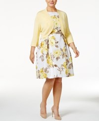 Jessica Howard Plus Size Floral Print Fit And Flare Dress And Shrug Sweater Yellow White Multi