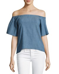 Alice Olivia Christy Off The Shoulder Chambray Shirt Blue
