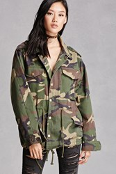 Forever 21 Camo Print Utility Jacket Olive Brown