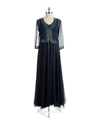 J Kara Petite Beaded Gown With Matching Bolero Jacket Navy Shade