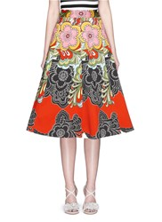 Alice Olivia 'Eartha' Flare Skirt In Retro Floral Print Multi Colour