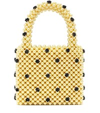 Shrimps Dolly Small Beaded Tote Yellow