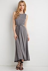 Forever 21 Knotted Cutout Waist Maxi Dress Dark Grey