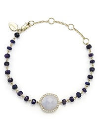 Meira T 14K Yellow Gold Blue Lace Chalcedony And Sapphire Bead Bracelet With Diamonds