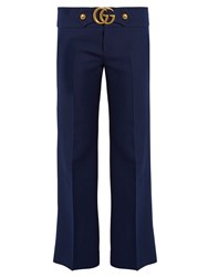 Gucci Gg Wool And Silk Blend Cady Kick Flare Trousers Navy