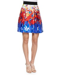 Milly Katie Watercolor Print Short Skirt