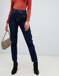 Prettylittlething Contrast Stitch Straight Leg Jeans In Navy Blue