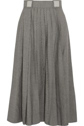 Carven Pleated Houndstooth Wool Blend Skirt Gray