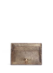 Alexander Mcqueen Skull Metallic Leather Card Holder