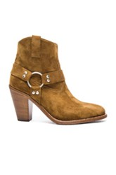 Saint Laurent Suede Curtis Harness Boots In Brown
