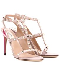 Valentino Garavani Rockstud Leather Sandals Pink