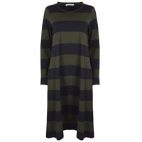 Beaumont Organic Vicky Cotton Dress In Navy And Green Stripe