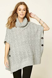 Forever 21 Cable Knit Cowl Neck Sweater Grey