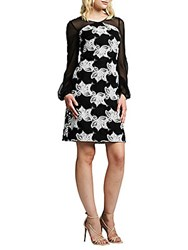 Kay Unger Illusion Floral Cocktail Dress Black White