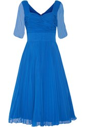 Mikael Aghal Pleated Georgette Midi Dress Bright Blue