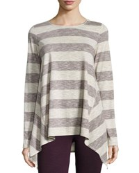 Max Studio Striped Long Sleeve Trapeze Top Wine Natur