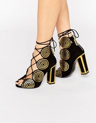 Kat Maconie Vera Gold Spiral Leather Ghillie Heeled Sandals Gold Spiral