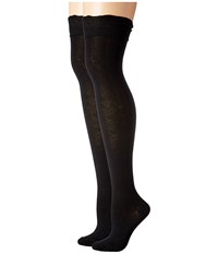 Steve Madden 2 Pack Ruffle Cuff Over The Knee Black Black Women's Thigh High Socks Shoes