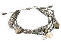 Chan Luu 6' Adjustable Carnelian Multi Strand Pull Tie Single Bracelet Grey Mix Bracelet Gray