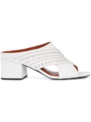 3.1 Phillip Lim Silver Studded Mules Women Leather 38 White